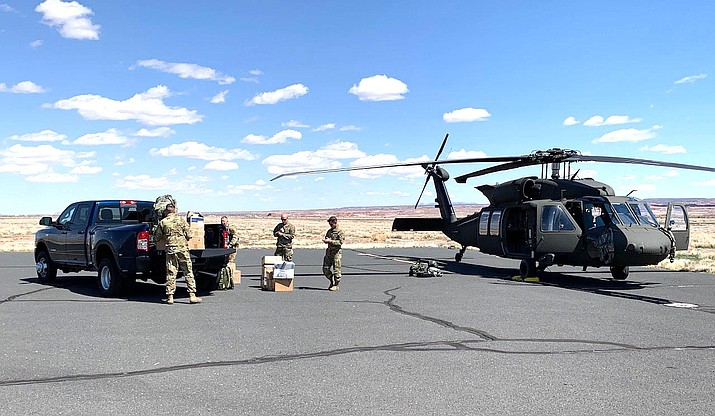 The Arizona Army National Guard delivers donated PPE supplies to be used on the Navajo Nation April 4. (Photo/Office of the President and Vice President)