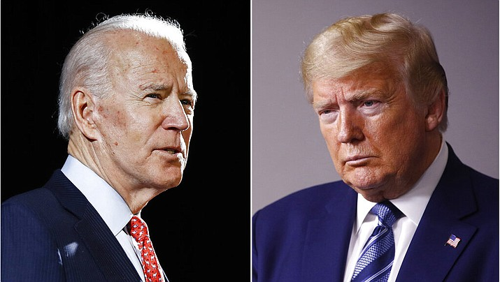 In this combination of file photos, former Vice President Joe Biden speaks in Wilmington, Del., on March 12, 2020, left, and President Donald Trump speaks at the White House in Washington on April 5, 2020. Barring unforeseen disaster, Biden will represent the Democratic Party against Trump this fall, the former vice president's place on the general election ballot cemented Wednesday, April 8, by Bernie Sanders' decision to end his campaign. (AP Photo)
