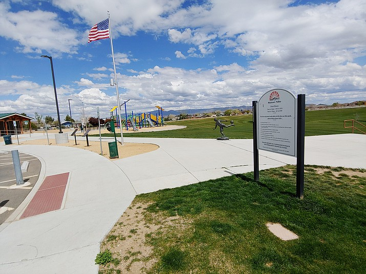 Bob Edwards Park, 7201 E. Long Look Drive, in Prescott Valley is one of several town parks to close its playgrounds and restrooms temporarily because of the coronavirus pandemic. (Doug Cook/Courier)