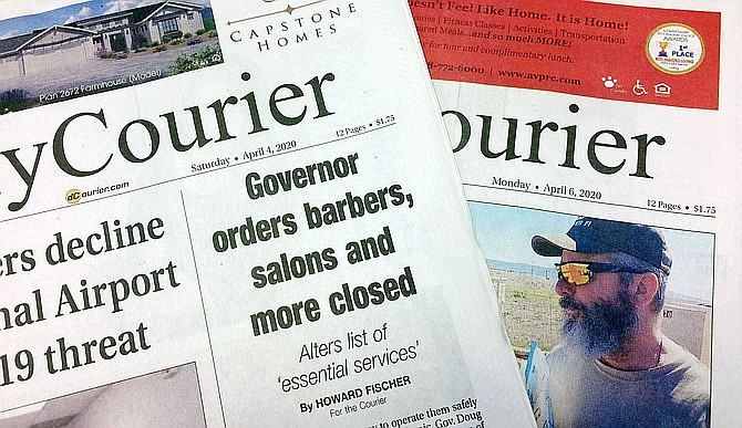 Prescott Newspapers, Inc. has announced it will temporarily suspend publishing Saturday and Monday editions because of the effects of coronavirus on the economy. (Courier photo)