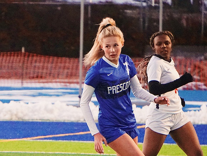 Prescott forward Lily Jensen (7) dribbles and evades a couple of defenders during a game against Poston Butte on Friday, Jan. 10, 2020, at Bill Shepard Field in Prescott. Jensen was named 4A Player of the Year. (Aaron Valdez/Courier, file)