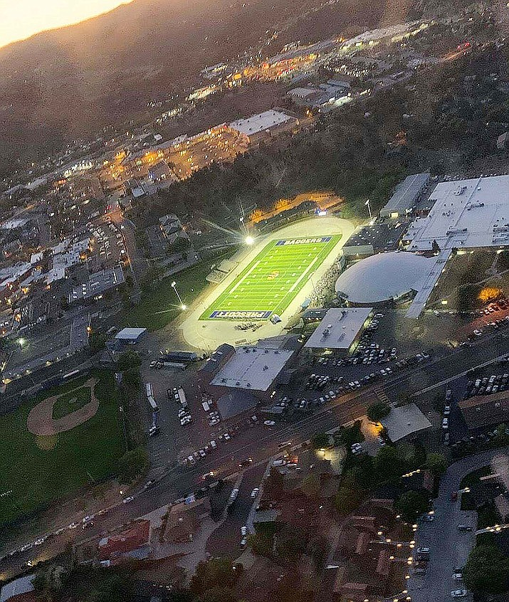 Prescott High School's Bill Shepard Field, pictured in September 2019 after the turf was resurfaced, will light up nightly in honor of the Class of 2020. (PUSD/Courtesy file)