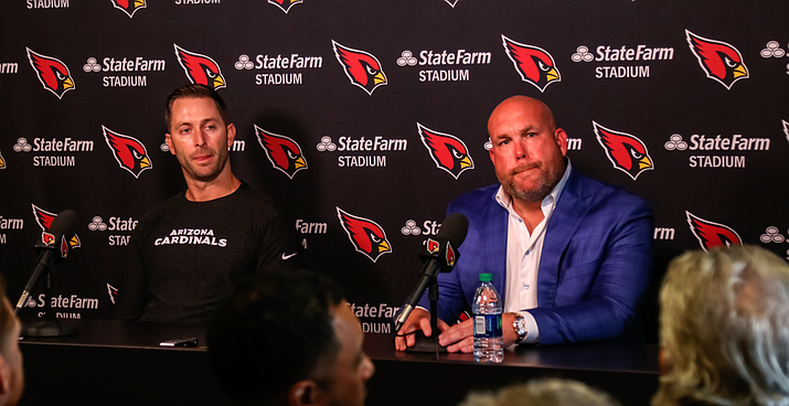 Arizona Cardinals coach Kliff Kingsbury(left) and general manager Steve Keim feel good about the team heading into Kingsbury's second season. (Photo by John Mendoza/Cronkite News)