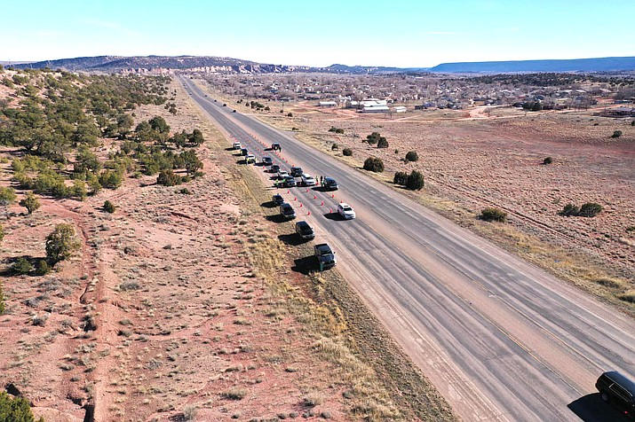 Motorists are stopped on the Navajo Nation as the Nation attempts to slow the spread of the coronavirus. (Photo/Navajo Nation)