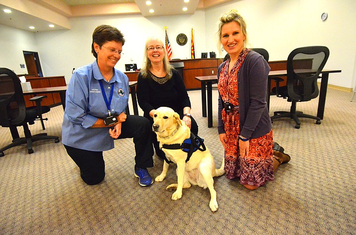 Tilly's handler Kathi Raley, left, Presiding Magistrate Catherine Kelley middle, and victims' advocate Johannah Rutschow  pose with Tillly in Cottonwood Municipal Court during a break in court hearings. VVN/Vyto Starinskas