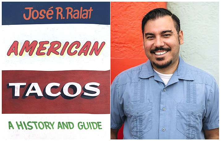 "This combination photo shows ""American Tacos: A History and Guide,"" left and a portrait of author José R. Ralat. The book illustrates Ralat's travels throughout the United States while he examines the global metamorphosis of a food that transcends borders, barriers, or bullets. (University of Texas Press, left, and Jose R. Ralat via AP)"