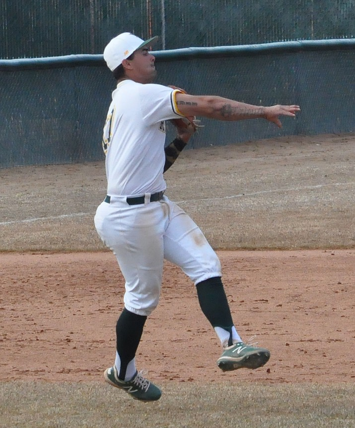 Yavapai infielder Christian Encarnacion-Strand throws a ball to second base in a game during the 2020 season. (Yavapai Athletics/Courtesy)