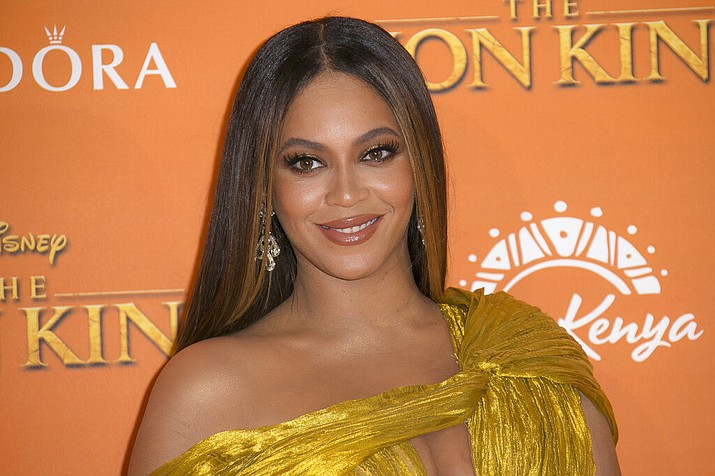 """This July 14, 2019 file photo shows Beyonce at the """"Lion King"""" premiere in London. Beyonce, along with Timothy McKenzie and Ilya Salmanzadeh, failed to get an Oscar nomination for best original song for """"Spirit,"""" from the film """"The Lion King."""" (Photo by Joel C Ryan/Invision/AP, File)"""