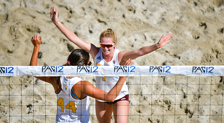 "Arizona State beach volleyball player Samantha Plaster, with teammate Kathryn Baldwin, misses the structure that sports gave her life. ""Over these last few weeks, I've woken up and I'm like, 'What am I supposed to do today?'' she says. (Photo courtesy of John McGillen)"