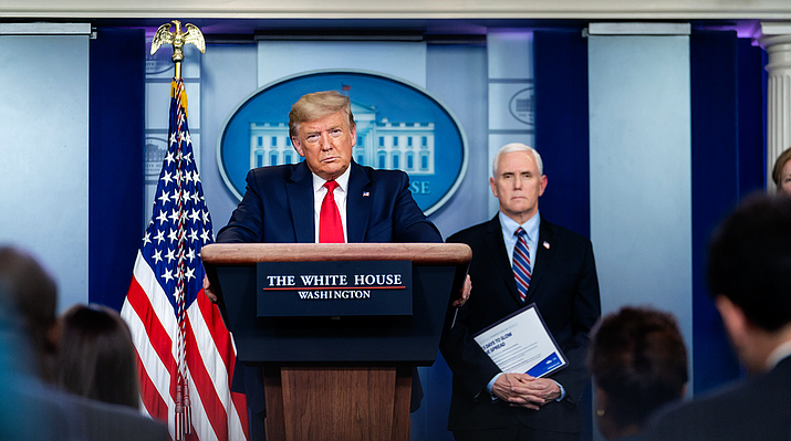 President Donald Trump, shown here in a file photo from March, named a 97-member congressional task force Thursday to look into ways to reopen the economy in the face of the coronavirus. (Photo by Tia Dufour/The White House)