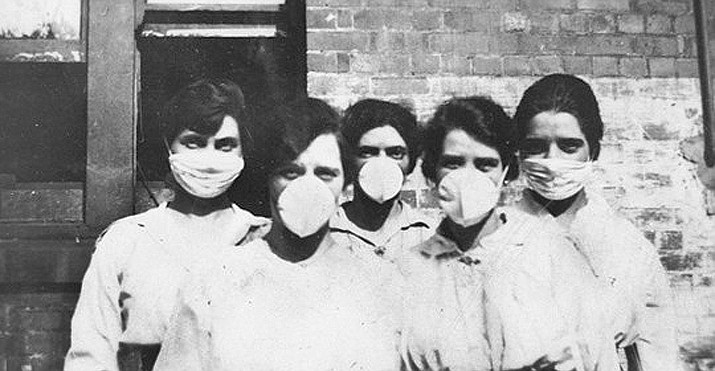 Five masked nurses gaze solemnly into the camera during the 1918 Spanish flu epidemic, which devastated northern Arizona, along with the rest of the world. During the modern day COVID-19 pandemic, Sharlot Hall Museum is offering a number of online sources to access Prescott's history. (Sharlot Hall Museum/Courtesy)