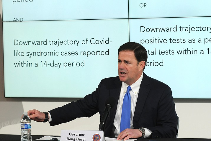 Gov. Doug Ducey discusses Wednesday, April 22, 2020, the issues and indicators he is reviewing in deciding if he will lift some of his restrictions on individual activities and business operations that are set to expire April 30. (Howard Fischer, Capitol Media Services/Courtesy)