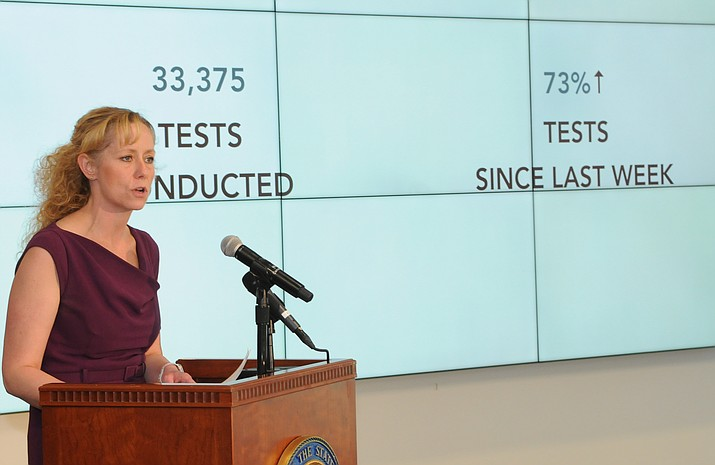 State Health Director Cara Christ at a briefing on COVID-19 earlier this month. (Howard Fischer/Capitol Media Services, file)