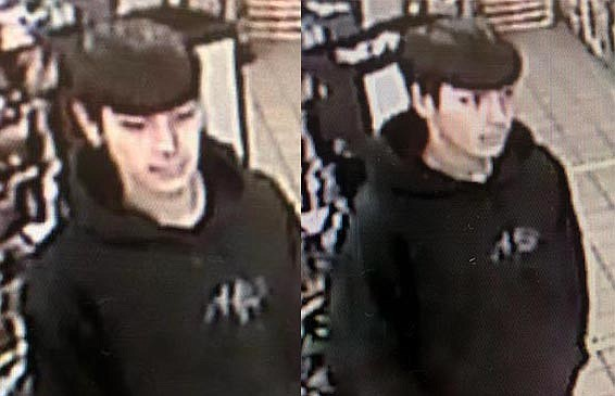 The auto theft suspect is described as a white or Hispanic male between the ages of 16 and 21, 5-foot-8 to 5-feet-11 inches tall, about 150 pounds, with black hair.