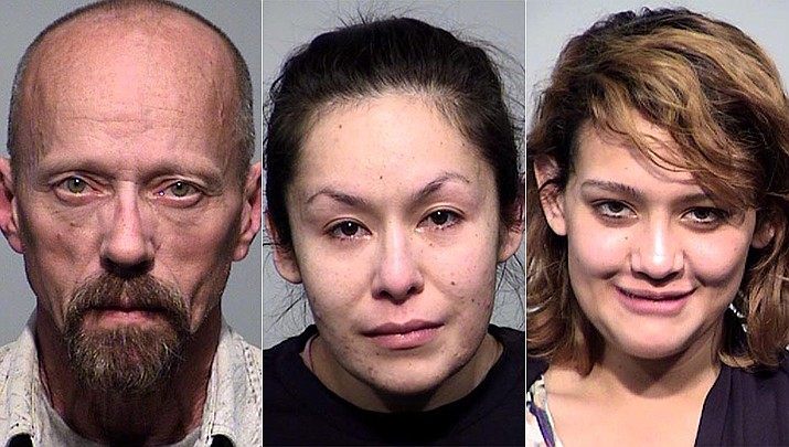 From left to right: Steven Lee Carns, 51; Rose Rodriguez, 30; and Mayvi Garcia, 24; all face charges that include at least one count of possession of a narcotic drug for sale. (YCSO)