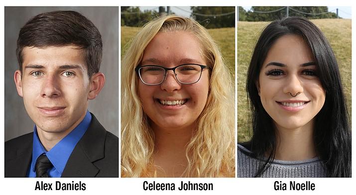 YC's Coca-Cola Academic Team scholars are, Alex Daniels of Chino Valley, Celeena Johnson of Lake Montezuma and Gia Noelle of Prescott. (YC/Courtesy)