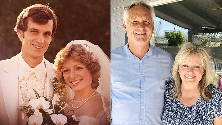 Richard and Gail McNeeley of Prescott were married May 3, 1980, in Scottsdale, Arizona. Pictured then, left, and now. (Courtesy photos)