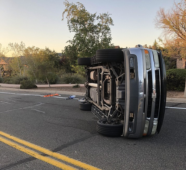 Police responded to a single-vehicle rollover Saturday morning, May 2, 2020, on Smoketree Lane at Golden Bear Drive in Prescott. The driver, a 16-year-old girl, died shortly thereafter, police said. (Prescott Police/Courtesy)