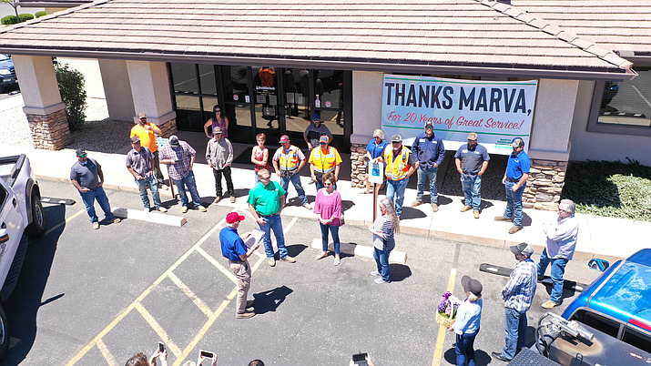Marva Goodman is surrounded by well-wishers Friday, May 1, 2020, on the day she retired as branch manager of Foothills Bank, 3044 N. Glassford Hill Road in Prescott Valley. (Courtesy photo)