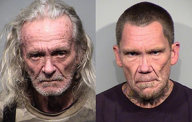 Bruce Moore, 67, left, of Humboldt, and Dwight Elia, 49, of Dewey are wanted by the Yavapai County Sheriff's Office after an attempted homicide Saturday, May 2, 2020, in Dewey-Humboldt. Moore and Elia reportedly fired shots at a man standing by his vehicle following a confrontation. A direct tip to Yavapai Silent Witness leading to the arrest of either suspect could be worth a $1,000 reward. Report tips to Yavapai Silent Witness via phone at 800-932-3232, or online at yavapaisw.com. (Courtesy of Yavapai County Sheriff's Office )