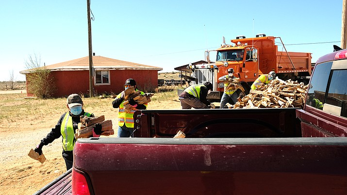For the past week, the Navajo Division of Transportation (NDOT) has helped the Office of the President and Vice President in providing relief to rural Navajo communities with food and wood distribution events.  (Photo courtesy of the Navajo Department of Transportation)