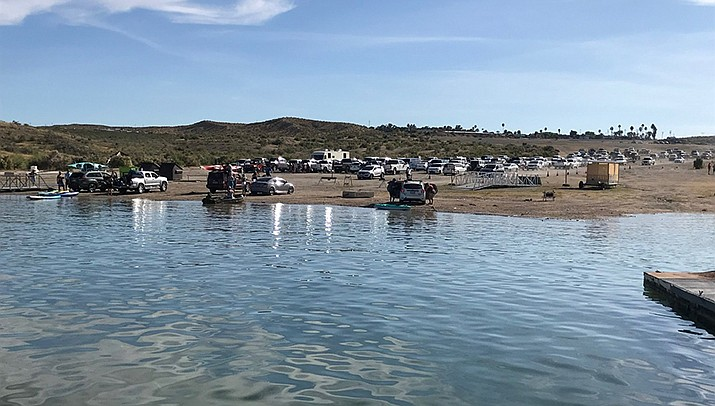 A crowd gathers at Temple Bar Marina on the Arizona side of Lake Mead on a sunny weekend day in late April. (Courtesy photo)