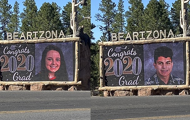 Bearizona has begun honoring Williams High School seniors by posting their photos on their marquee at the entrance to the wildlife park.  (Wendy Howell/WGCN)
