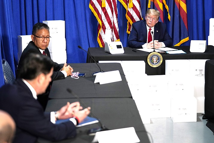President Donald Trump speaks during a roundtable on supporting Native Americans, May 5, in Phoenix. (AP Photo/Evan Vucci)