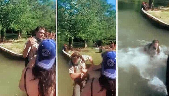 In Austin, Texas, a 25-year-old man has been charged with attempted assault on a public service worker after a video posted on social media showed a city park ranger getting shoved into the water while asking a crowd to keep 6 feet of distance. (Screen shots from video)