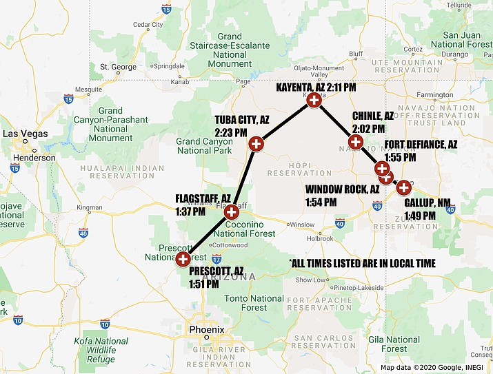 A map of the National Guard's flyover, set for Thursday, May 7, 2020. (Courtesy)