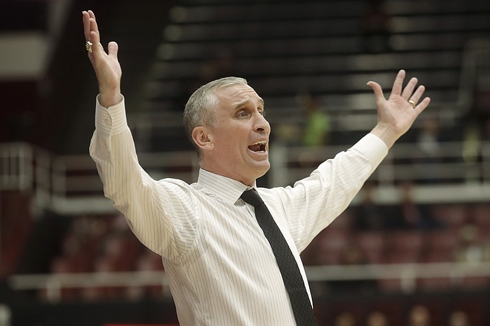 In this Feb. 13, 2020, file photo, Arizona State coach Bobby Hurley reacts during the first half of the team's NCAA college basketball game against Stanford in Stanford, Calif. Arizona State faced what could have been a difficult 2020-21 basketball season with three key players potentially leaving the program. Things have changed quickly now that Bobby Hurley has pulled in what may be the best recruiting class in school history. (Jeff Chiu/AP, file)