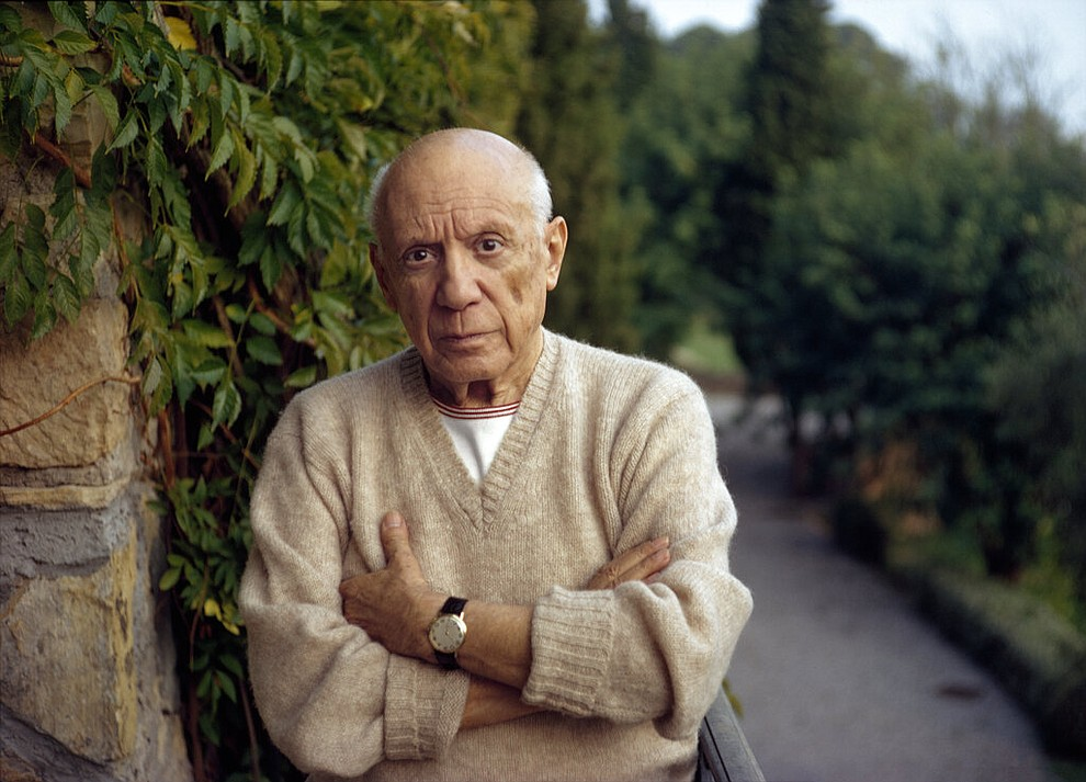 "This 1966 photo by Tony Vaccaro, shows artist Pablo Picasso in Mougins, France. Vaccaro, 97, was thrown into WWII with the 83rd Infantry division which fought, like Charles Shay, in Normandy, and then came to Schmetz's doorstep for the Battle of the Bulge. On top of his military gear, he also carried a camera, and became a fashion and celebrity photographer after the war. COVID-19 caught up with him last month. Like everything bad life threw at him, he shook it off, attributing his survival to plain ""fortune."" (Photo courtesy Tony Vaccaro via AP)"
