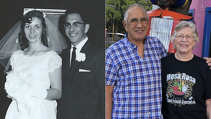 Jim and Carleen Lowrey have celebrated their 60th wedding anniversary, pictured then and now. (Courtesy photos)