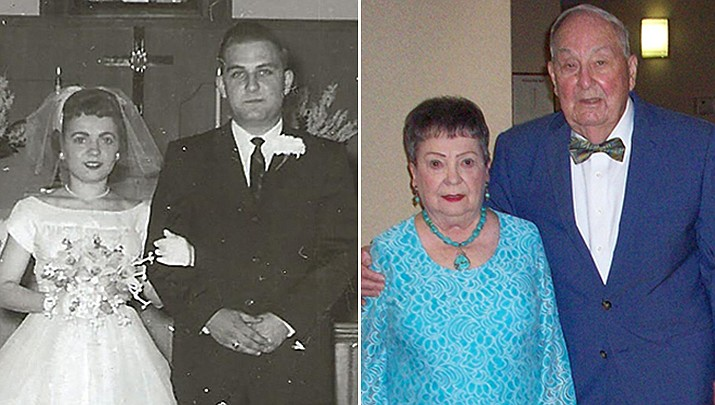Don and Patty Shemenske recently celebrated their 60th wedding anniversary, pictured then and now. (Courtesy photos)
