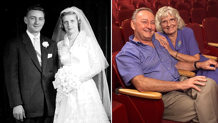 Gene and Barbara Polk will celebrate their 66th wedding anniversary on May 15, 2020, pictured then and now. (Courtesy photos)