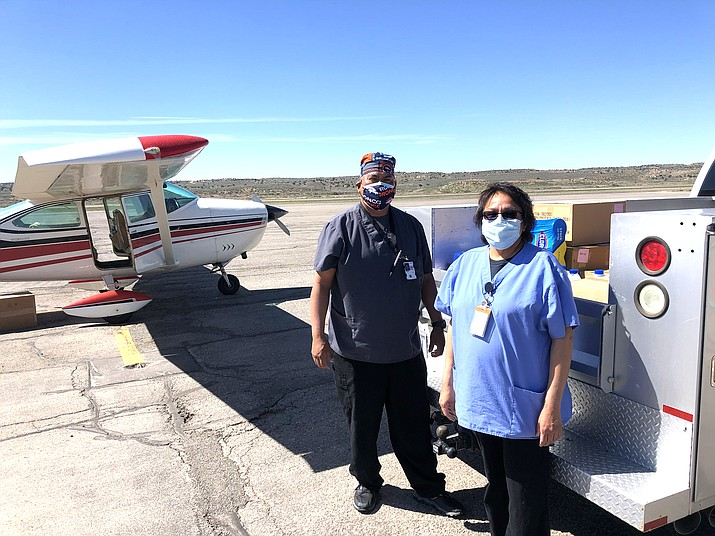 PPE collected from With Love, From Strangers arrives at Gallup via Angel Flight West volunteer pilots Bob Holt and Steve Bollinger. (Photos/Angel Flight West)