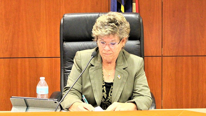 Jean Bishop, chairwoman of the Mohave County Board of Supervisors, quizzed county health officials about information on the number of residents who have recovered from the coronavirus. (Miner file photo)