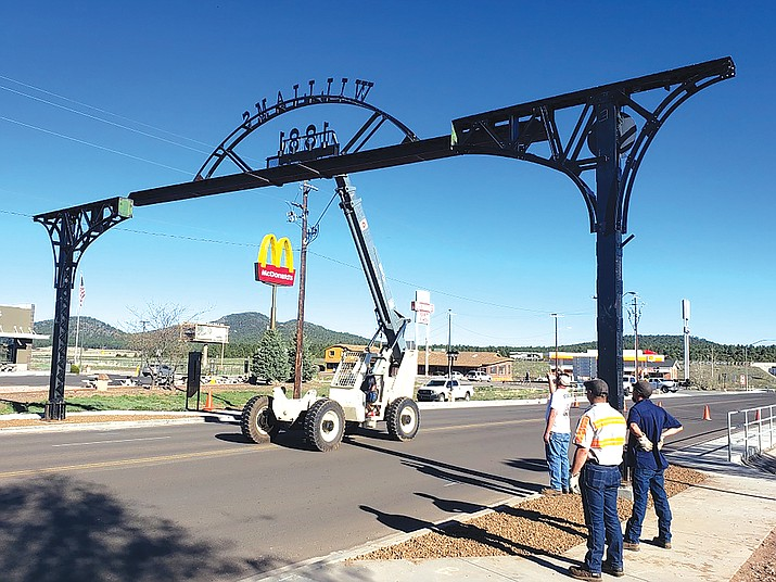 City crews replace the north gateway arch that was retrofitted for the newly designed Grand Canyon Boulevard. The city was recently awarded the 2020 Public Works Project of the Year award for their work on the boulevard. (Submitted photo)