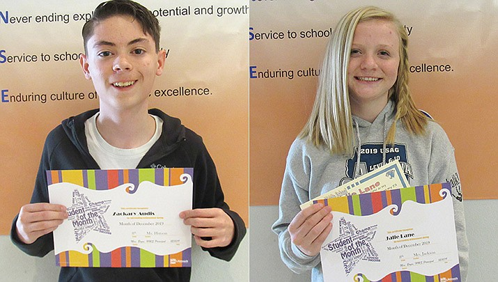Heritage Middle School of the Chino Valley Unified School District announced their male and female Student of the Year for the 2019-2020 school year. Zachary Audis, left, and Jalie Lane were selected. (CVUSD/Courtesy)