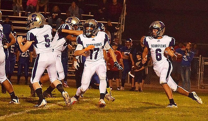 Sedona Red Rock's Kyle Ramirez blocks for teammate Christian Welch in a September game at Camp Verde. The Sedona-Oak Creek School District Governing Board voted unanimously May 5 to eliminate football from the 2020-21 junior high and high school programs. (Photo/Verde Independent)