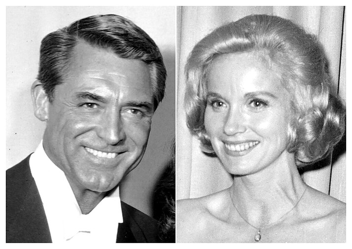 "This combination photo shows Cary Grant at the 30th Academy Awards ceremony on March 26, 1958, left, and Eva Marie Saint at the Academy Awards on April 17, 1961. Grant and Saint star in the Hitchcock thriller ""North by Northwest."" (AP Photo)"
