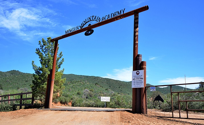 The entrance to Mingus Mountain Academy is at the end of a dirt road near Mingus Mountain. (Vyto Starinskas/for the Courier)