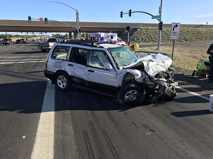 Traffic was interrupted for about an hour Wednesday morning, May 13, 2020, after a vehicle that allegedly ran a red light collided with another vehicle at the intersection of highways 89 and 89A. (Prescott Police Department/Courtesy)