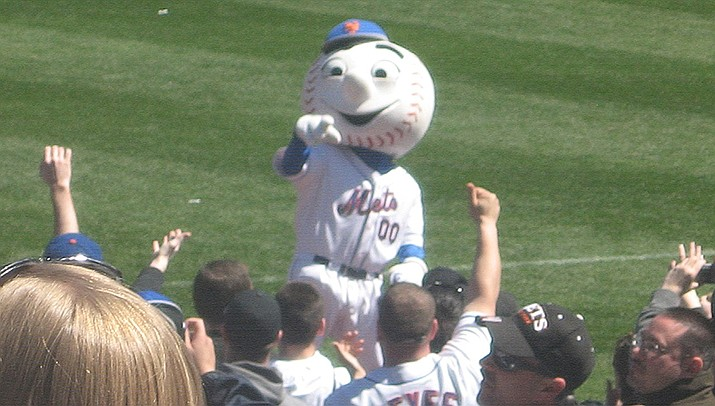 Mr. Met will have to keep his distance from fans and players when Major League Baseball resumes. It's just one of the new rules being put in place to prevent the spread of the coronavirus. (Photo by DLA75, Public domain)