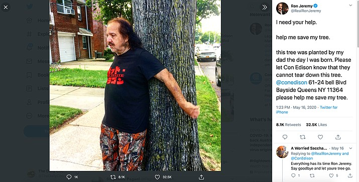 Porn actor Ron Jeremy took to Twitter Saturday, May 17, 2020, saying that New York utility Con Edison was going to cut down a tree his father planted outside their Queens, New York home the day he was born in 1953. The tweet includes a 2018 photo of Jeremy hugging the tree. (Twitter.com screenshot)