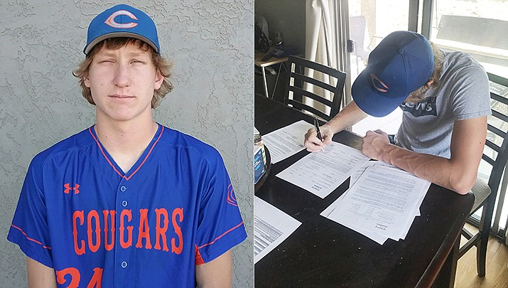 Thomas Bartels is a senior pitcher for Chino Valley. At right, Bartels signs his letter of intent to play for Northwestern Oklahoma State starting next spring. (CVHS/Courtesy)