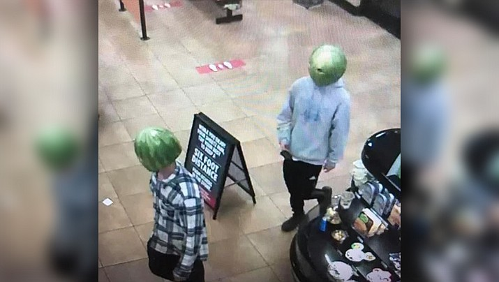 Police in Virginia said two men used watermelons as masks when they allegedly stole from a grocery store in Louisa. (Louisa Police Department)