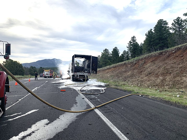 Volunteers with Williams Fire Department respond to a semi on fire on Interstate 40 April 30.  (Photo/Williams Volunteer Fire Department)
