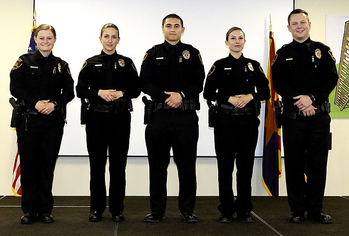 Five graduates from the Northern Arizona Regional Training Academy, or NARTA, recently joined the Prescott Valley Police Department as officers. From left, they are officers Sabrina Rozendaal, Michelle Woods, Damon Alvarado, Sandra Vaccaro and Tyler Skipper. (Town of Prescott Valley/Courtesy)