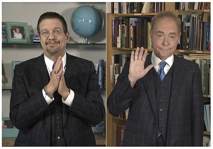 """This combination of photos released by The CW shows magicians Penn Jillette, left, and Raymond Teller during their upcoming special """"Penn & Teller: Try This at Home,"""" created and filmed entirely by the homebound magicians and their friends. The special airs on The CW on Monday. (The CW via AP)"""